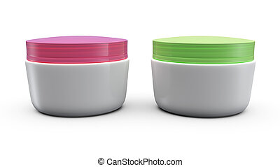3d Cream Boxes - 3d cream box over white background