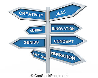 3d creativity signpost - 3d render of creativity signpost