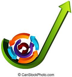 3d, crecimiento, proceso, flechas