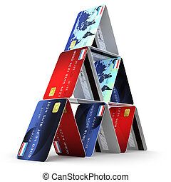 3d Credit card tower - 3d render of credit cards balance in ...