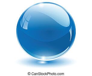 3d, cristal, sphère
