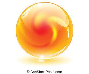 3d, cristal, vidrio, esfera, vector.