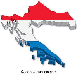 3D Croatia map with flag