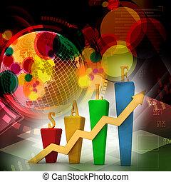 3d, croissance, graphique barre, ventes