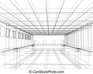 3d, croquis, de, une, intérieur, de, a, bâtiment public