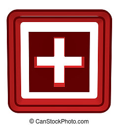 3D Cross - 3D cross inside a red box on a white background