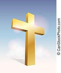 3D Cross Illustration - An illustration of a golden 3D cross...
