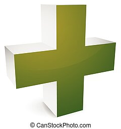 3d cross with shadow for healthcare, first-aid, medical concepts. Logo, icon for hospital, pharmacy, drugstore, clinic facilities