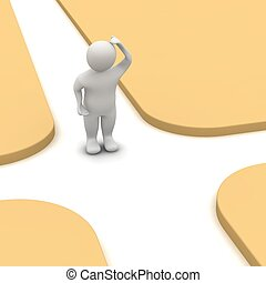 3d, crossroad., odpłacił, illustration., człowiek