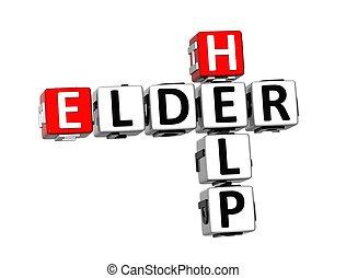3d, crossword, ajuda, ancião, branco, fundo