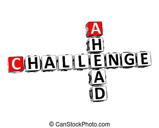 3D Crossword Challenge Ahead on white background