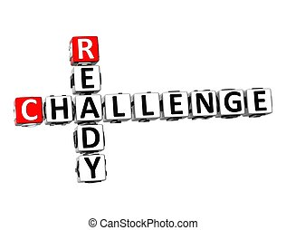 3D Crossword Challenge Ready on white background