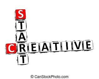 3D Crossword Creative Start on white background