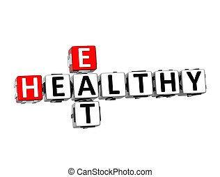 3D Crossword Eat Healthy on white background