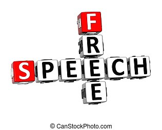 3D Crossword Free Speech on white background