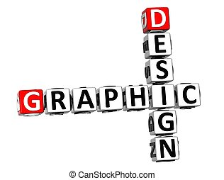 3D Crossword Graphic Design on white background