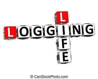 3D Crossword Logging Life over white background.