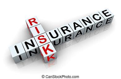 3d render of crossword text 'insurance risk'