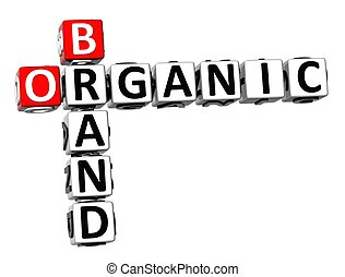 3D Crossword Organic Brand on white background