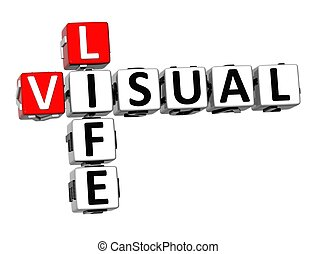 3D Crossword Visual Life over white background.