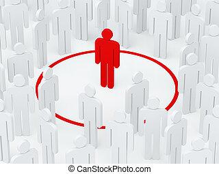 (3d, crowd, einsamkeit, umgeben, render), kreis, rotes ,...