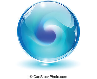 3D crystal, glass sphere vector.