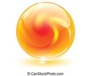3D crystal, glass sphere with abstract shape inside, vector illustration.