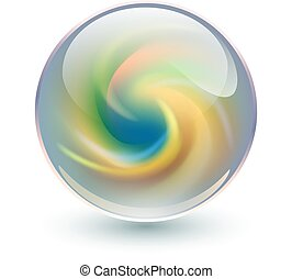 3D crystal, glass sphere