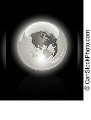 3d crystal globe. World map inside