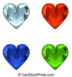 3D Crystal Hearts