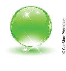 3D crystal sphere, green ball. Vector illustration.