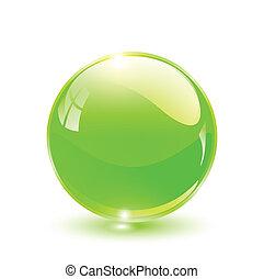 3D crystal sphere green, vector illustration.