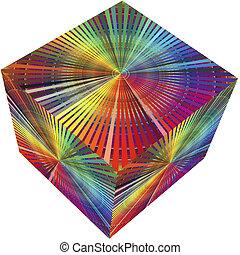 3d, cube, dans, couleurs arc-en-ciel