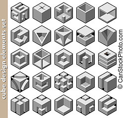 3d cube design elements set vector