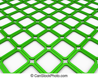 3d cube green square background