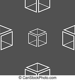 3d cube icon sign. Seamless pattern on a gray background. Vector