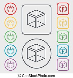 3d cube icon sign. symbol on the Round and square buttons with frame. Vector