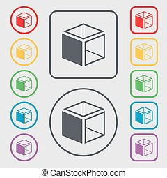 3d cube icon sign. Symbols on the Round and square buttons with frame. Vector