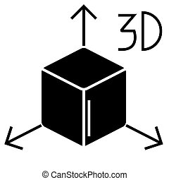 3d cube icon, vector illustration, black sign on isolated background