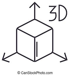 3d cube  icon, vector illustration, sign on isolated background