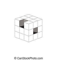 3d cube logo design icon, vector