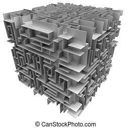 3d cube maze. White background.