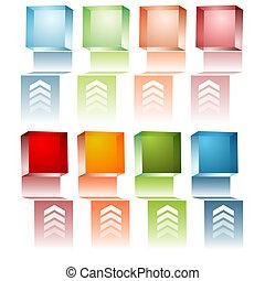 3d Cube Menu - An image of a set of 3d menu cubes.