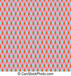 3d cube polygon perspective pattern in orange blue pink for background, web online use