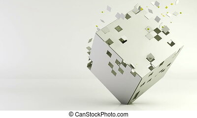 3d cube polygon transformation, geometric abstract background