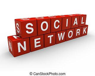 3d, cube, réseau, social