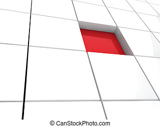 3d cube red area