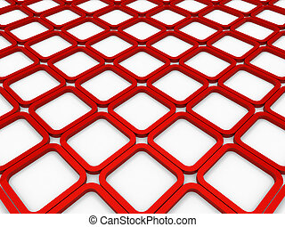 3d cube red square background