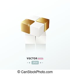 3D Cube Toy Game gold style
