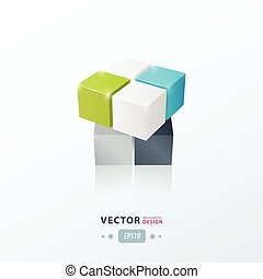 3D Cube Toy Game   green blue gray color